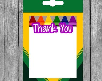 Crayon Thank You Note, Printable Thank You Note, Crayon Thank You, Crayon Party, Printable Party Supplies, Printable Thank You Note