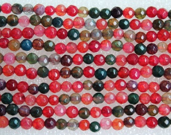 Beautiful Multicolor Agate Faceted Round Beads 4mm - 14.5 Inch Strand