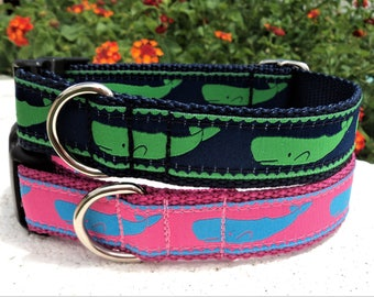 "Dog Collar Whale Green or Blue 1"" Quick Release adjustable - no martingale very limited designer ribbon"