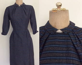 "30% OFF 1950's Cotton Striped Wiggle Dress w/ Pockets Size Small 26"" Waist by Maeberry Vintage"
