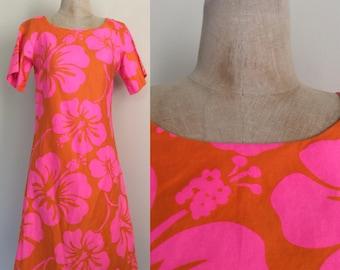 1960's VIBRANT Hawaiian Print Cotton Shift Dress Size Small Medium by Maeberry Vintage