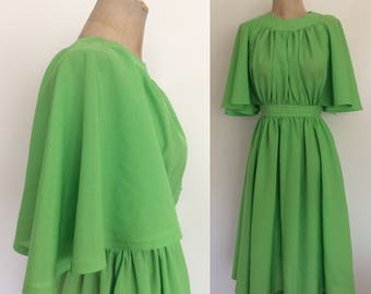 1970's Lime Green Lightweight Polyester Blend w/ Flutter Sleeves Vintage Dress Size XXS XS by Maeberry Vintage
