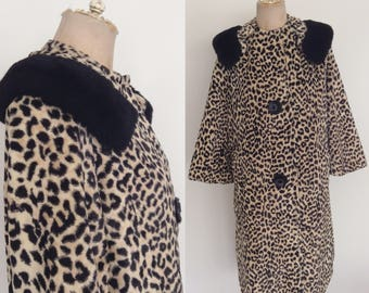 1960's Leopard Print Faux Fur Coat Pea Coat Size Small Medium Large by Maeberry Vintage