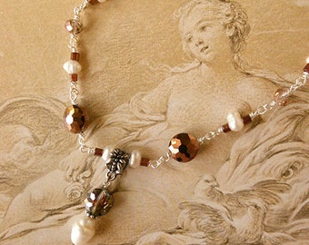 Artemisia Copper Glass Bead and Freshwater Pearl Necklace