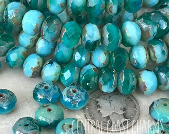8mm x 6mm - Czech Glass Bead - Bohemian Bead - Picasso Bead - Faceted Rondelle (10) Blue Green Turquoise Beach Ocean - Central Coast Charms