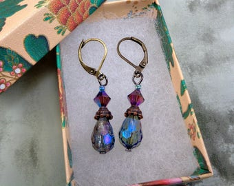 Purple and Blue Crystal Drop Earrings With Lever Backs