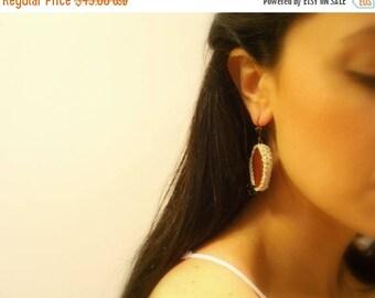 CIJ SALE Handmade Crochet Earrings, Brown, Golden Ivory, Agate, Black Glass Beads, Lever Back Hooks