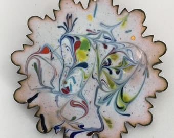Vintage Pink Enamel on Copper Snowflake Brooch Blue Red Yellow Green