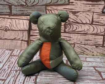 HAND MADE quilted military jack teddy bear