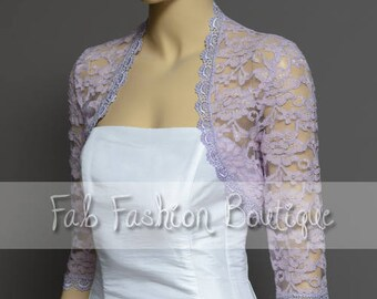 Lavender 3/4 sleeved lace bolero jacket shrug Size S-XL, 2XL-5XL