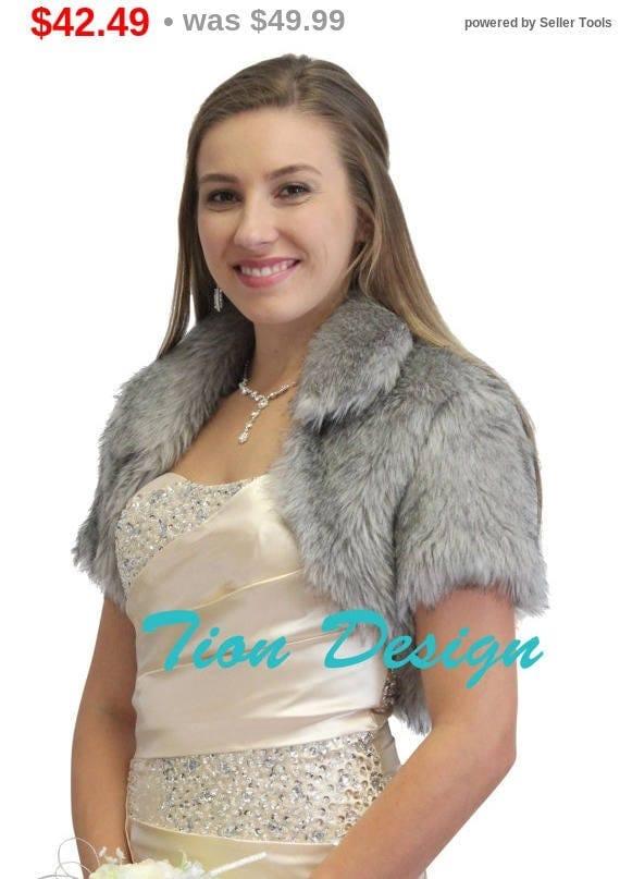 Valentine's Day Bridal bolero, Silver Faux Fur Bolero Crop Jacket For women 680NF-silver, Faux fur shrug, Faux fur cape