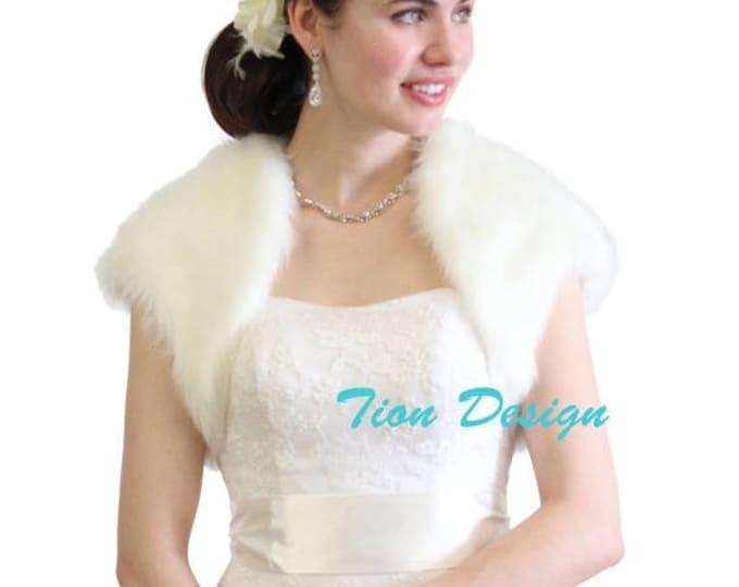 Valentine' Day Faux Fur Bridal Bolero Crop Jacket, fur shrug, fur stole, fur coat, fur shawl