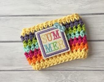 Summer cup cozy, coffee cup cozy, cup cozy, beach cup cozy, crochet coffee cozy, summer, cup sleeve, crochet cup cozy, coffee cup sleeve