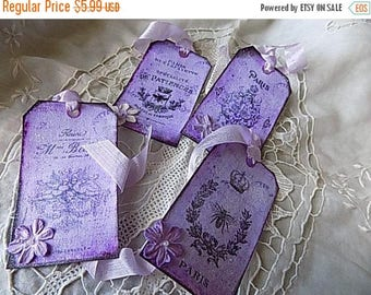 French Inspired Hang Tags Cottage Chic Gift Tag Black White Purple