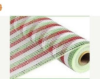 SUPPLY SALE 21 Inch Red White Lime Green Deco Mesh RE1064Ke, Deco Mesh Supplies
