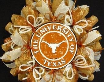 ON SALE College Teams, Texas Longhorns, Poly Mesh Wreath, College Football, Mesh Supplies Item 1284-2