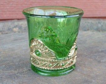 Antique. EAPG. Toothpick Holder. Peoria Illinois. Gilt. Pressed Glass. 1918. EAPG. Souvenir. Peoria. green. glass. gilt. OurVintageHouse