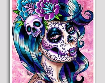 18x24 in Poster - In Between - Day of the Dead Sugar Skull Girl Tattoo Art