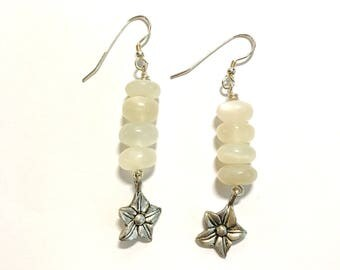 Hook Earrings 10mm Stacked Creamy White Opalescent Moonstone Rondels Double Sided Pewter Star Flower Dangles Sterling Silver Ball Ear Wires