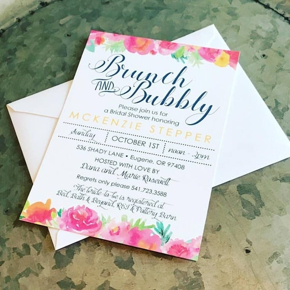 Brunch and Bubbly Bridal Shower Invitations - PRINTABLE