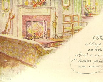 Vintage Christmas Postcard Come Visit Us This Christmas Fire in the Hearth – Inviting Scene and Charming Verse 1919
