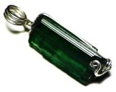 Dark Green Tourmaline Necklace (17.8 ct) Indicolite Crystal Pendant in Sterling Silver, Wire Wrapped Tourmaline Pendant, Jewelry For Her