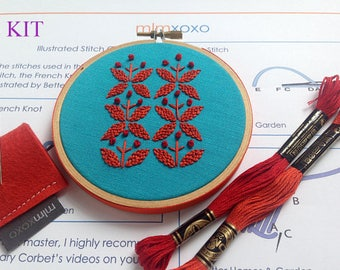 "Embroidery KIT.  modern hand embroidery kit. floral motif embroidery pattern.  DIY needlework kit. 4"" hoop art. hand embroidery kit. mlmxoxo"