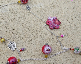 Sparkly Ruby Flower necklace, polymer clay
