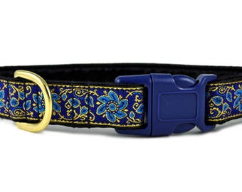 "Ready-to-Ship: Sevilla Jacquard in Blue & Gold - 1"" Buckle Collar - SMALL - Brass Hardware"