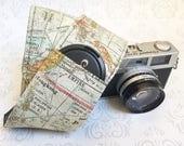 Camera Strap, DSLR Camera Strap, Lens Cap Pockets, Travel Photographer, Nikon or Canon Camera,  Gift, Photographer Gift - Color Map