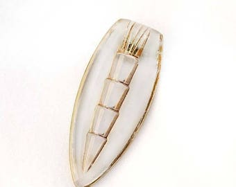 20% OFF SALE - 1930s - 40s Frosted Clear Glass and Gold Gilt Dress or Fur Clip - CZECHOSLOVAKIA