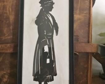 Antique 1918 Full Figure Silhouette by Baron Scottford