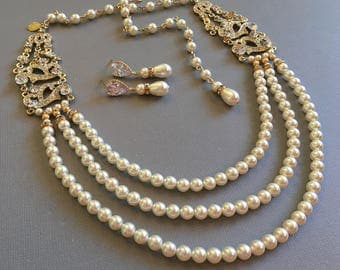 Complete Pearl Backdrop Necklace Set Necklace Bracelet Earrings in Gold and Ivory with Art Deco Rhinestone 3 multi strands Swarovski pearls