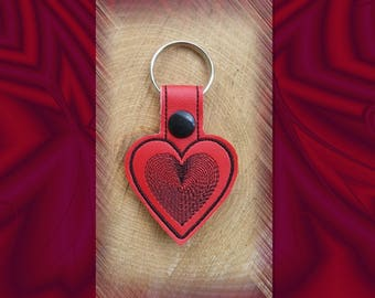 Red Heart Spiral Embroidered Key Fob, Key Chain, Luggage Tag, Bag Clip, Vinyl, Key Ring, Purse Charm