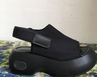 7.5 Black Leather Platform Sandals with Scuba Top