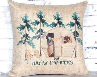 Happy Campers Pillow Cover - Camper Gifts - Watercolor Art - Throw Pillow Cover - RV Decor - Couples Gift