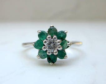 Vintage Emerald and Diamond Flower Halo Engagement Ring in 14k Solid White Gold , Size 4.5