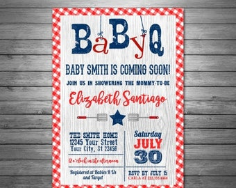 ON SALE Baby-Q Baby Shower Invitation, Printable File, Bbq Baby Shower, Red Gingham, Picnic Baby Shower, Barbecue Baby Shower Invitation