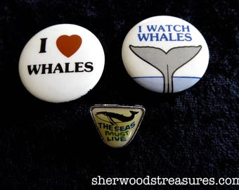 3 Ecological Seventies Eighties  ECOLOGY Pinback Buttons Whales Earth Day Ocean