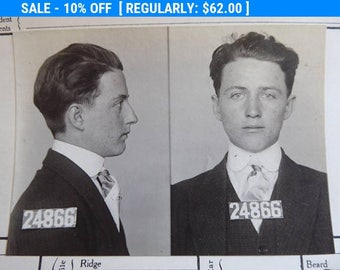 Mugshot  San Francisco Police Department 17 Year Old Dope  Crime Early 1900's Waiter