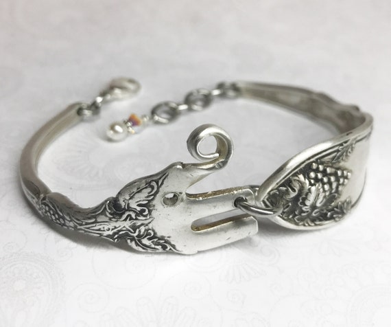 Elephant Fork Bracelet from Antique Cocktail Fork, Silverware Jewelry, Elephant Lover Gift - 'La Vingne' pattern 1908