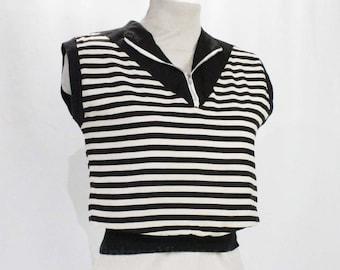 Size 6 1930s Shirt - Black & White Striped Cotton Top - Authentic 30's Casual Blouse - Chevron Zip Front - Deco Nautical - Bust 34 - 49185