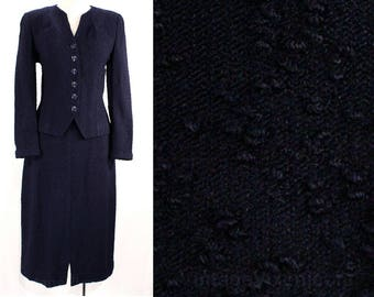 Size 2 1930s Suit - Navy Chenille Knit Jacket & Skirt Set - 30's Early 40's Dark Blue Beauty - Classic Tailoring - Waist 24 - 49251