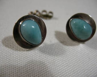 Larimar and Sterling Silver Stud Earrings, Dominican