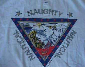 Vintage 80's Naughty Nautical 1988 Suzy Phillips punk rock new wave Sailor Kissing girl Cute t pop art Top Shirt Xl