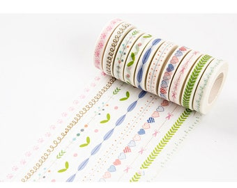 Planner washi tape - slim skinny springy /hearts/ scissors/ feathers/ leaves/ pawprints/ journal scrapbook swap mail package - Lillibon