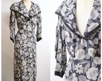 1930s Grey black printed silk wide sailor collar day dress / 30s cream floral Art Deco print bishop sleeve summer dress - M L XL