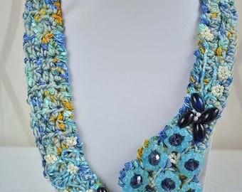 Crochet Shades  Sky Blue Necklace ,Flowers Necklace Jewelry,Crochet Crystal Necklace.