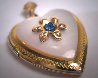 Antique Victorian Sapphire Paste Mother of Pearl Gold Locket Pendant Vintage Heart 1920 Puffy Heart