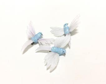 3 Small Light Blue Glitter Feather Birds on Clips - Craft Embellishment, Home Decor, Hair Accessories, Millinery, Christmas Decoration, Hat